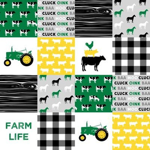 "(2"" small scale) farm life - wholecloth green, custom yellow, and black - woodgrain C19BS"