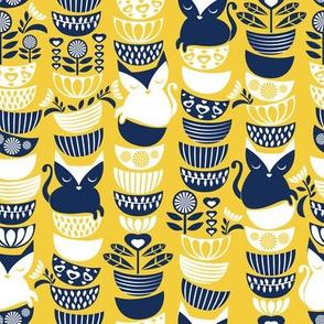 Swedish folk cats // yellow background navy & white flowers bowls & cute kitties