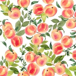 Watercolor Peaches // Small // White