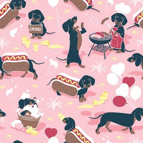 Hot dogs and lemonade // small scale // pastel pink background Dachshund sausage dogs