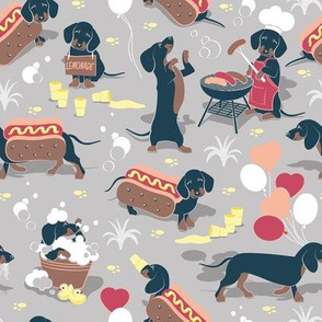 Small scale // Hot dogs and lemonade // grey taupe background Dachshund sausage dogs