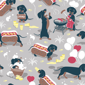 Hot dogs and lemonade // small scale // grey taupe background Dachshund sausage dogs