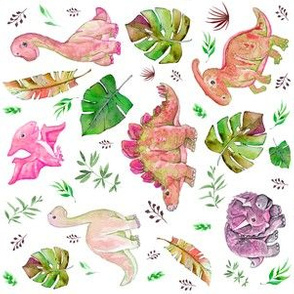 "6"" Retro Colors Pink & Green Dinos"