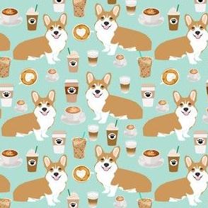 SMALL - corgis and coffee mint latte fabric cute cafe fabric coffee fabrics cute mint cafe latte fabrics