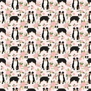TINY - tricolored aussie dog floral fabric - cute dog breeds fabric, dog breed floral fabric, australian shepherd fabric - pink
