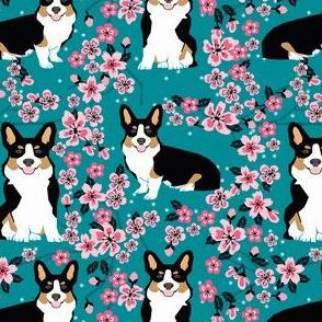 corgi tricolored cherry blossom fabric, sakura fabric, corgi fabric, corgi cherry blossom fabric, cute dog cherry blossoms - teal