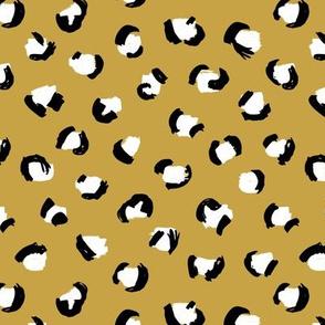 Trendy leopard print animals fur modern Scandinavian style raw brush  abstract ochre yellow fall