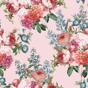"""12"""" Pierre Joseph Redouté - Victorian Moody Flowers Blush Roses, Lilacs and Hydrangea Bouquet - Redoute fabric,  on pink"""