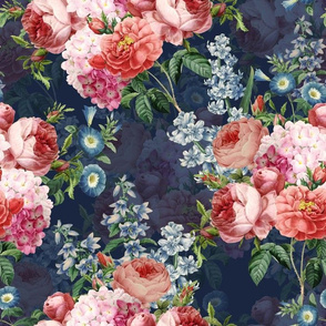 """14"""" Victorian Moody English Pink Blush Roses, Lilacs and Hydrangea Bouquet - double layer on dark blue"""