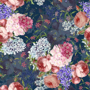 """14"""" Victorian Moody English Pink Blush Roses Lilacs Hydrangea - double layer on dark blue"""