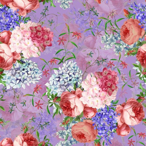 """14"""" Victorian Moody English Pink Blush Roses, Hydrangea and Lilacs Bouquets - double layer on purple"""