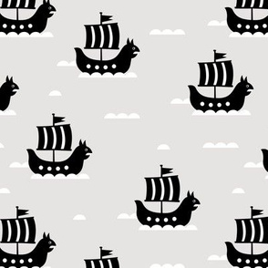 Little viking hero sea waves and vikings sailing boat cute ship design beige monochrome