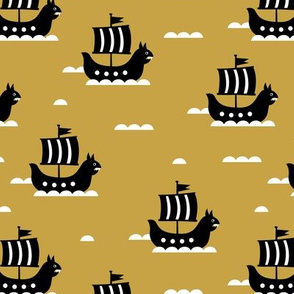 Little viking hero sea waves and vikings sailing boat cute ship design ochre yellow