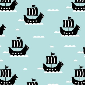 Little viking hero sea waves and vikings sailing boat cute ship design mint blue boys