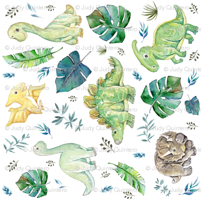 """6"""" Green and Blue Baby Dinosaurs White 90 degrees"""