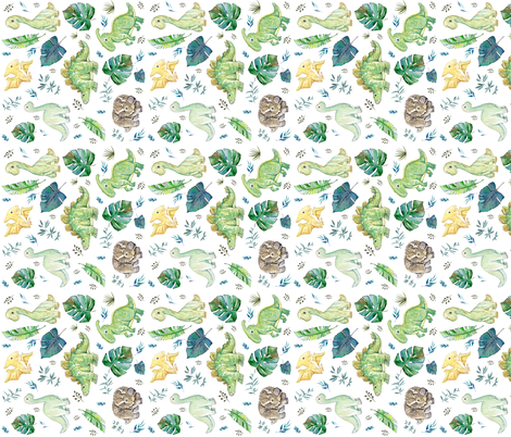 """6"""" Green and Blue Baby Dinosaurs White 90 degrees fabric by shopcabin on Spoonflower - custom fabric"""