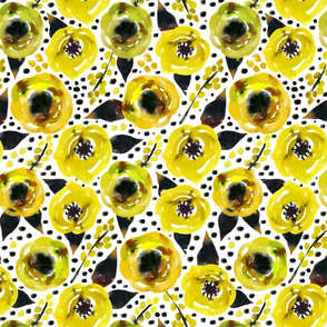 Small yellow watercolor floral with dots