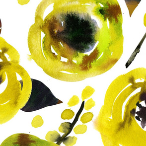 Large yellow watercolor floral