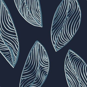 Woodgrain Leaves - Deep Blue