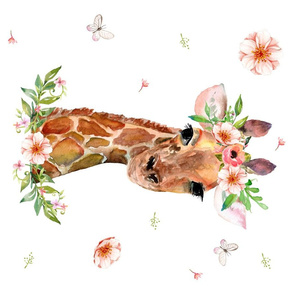 "27""x18"" Floral Giraffe 4 to 1 yard of 42"" wide fabric"