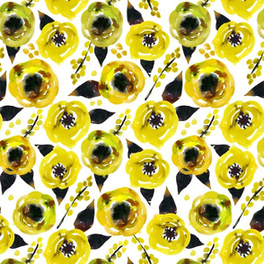 Small yellow watercolor floral