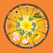 Wheel Of the Year with Flowers in Orange