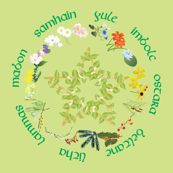 Flowers around the Wheel in Green