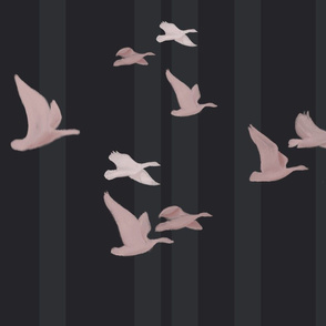 Birds in Flight: Black and Pink