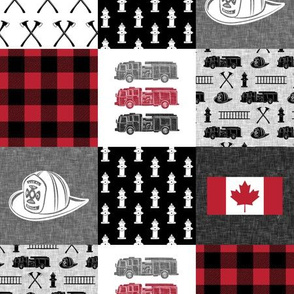 "(3"" scale) firefighter wholecloth - patchwork - red and black  - Canadian flag - C19BS"