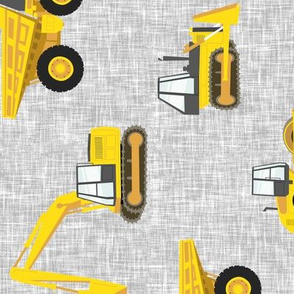 (large scale) construction trucks - yellow on grey linen C19BS (90)