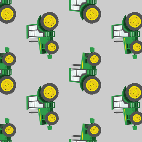 green tractors on grey - farm fabric (90) C19BS fabric by littlearrowdesign on Spoonflower - custom fabric