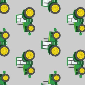 green tractors on grey - farm fabric (90) C19BS