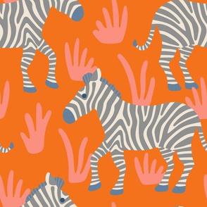 Zebra Zoo Bright Orange Blue Gray