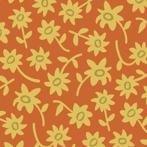 Ditsy Floral Retro Vintage Earth Tones Yellow Green Orange