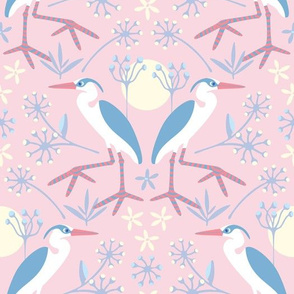 Water Birds Great Blue Heron Pink Blue Cream