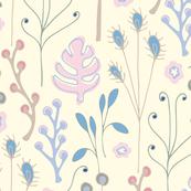 Floral Botanical Rushes Pastel Pink Blue Purple Cream