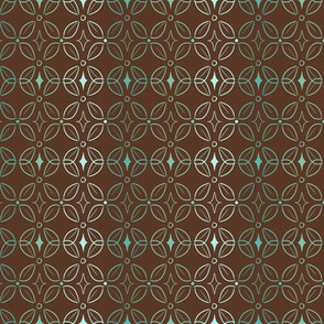 Teal and Brown Stripes of Tonal Butterfly Pattern