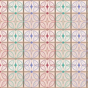 Butterfly Tile Stripes in Peach, Teal, Pink