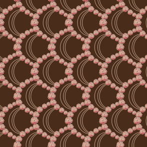 Large Scallop Border of Desert Dahlia Flowers in Peach and Brown