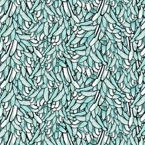 Teal and White Leaves in a Waterfall Pattern