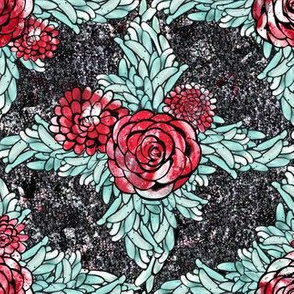 Red, Black, and Teal Dahlia Flower Lattice