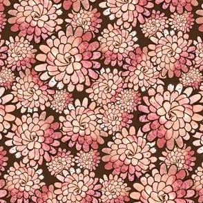 Small Dahlia Flowers in Peach and Brown
