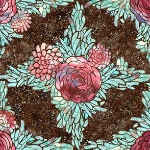 Boho Earth Toned Dahlia Flower Lattice