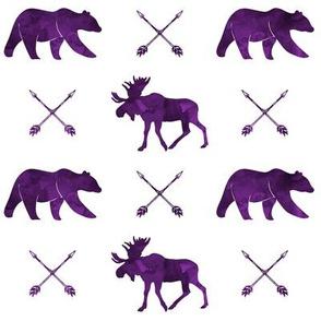 moose, bear, and arrows  || watercolor purples C19BS