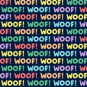 Woof! - Dog - rainbow on navy - LAD19