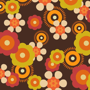 Vintage Floral Burnt Orange