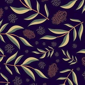 Australiana Leaf & Wattle repeat in Midnight