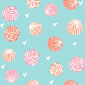 SMALL - seashells fabric // girls mermaid sea shell design - peach on blue