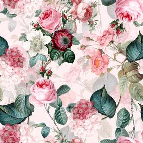 """18""""  Pierre-Joseph Redouté -Vintage Roses Hydrangea Bouquets on pink"""