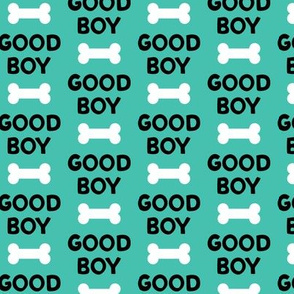Good boy - dog bone - typography - black on teal -  LAD19